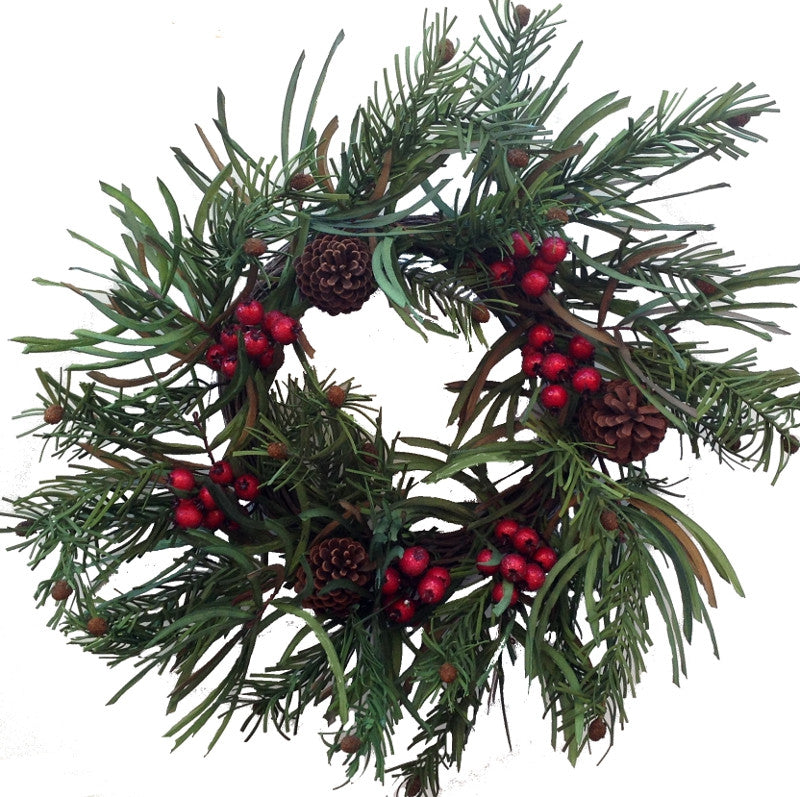 Berry Pine Cone Wreath 22 Inch - HOME DECORATIVE ACCENTS