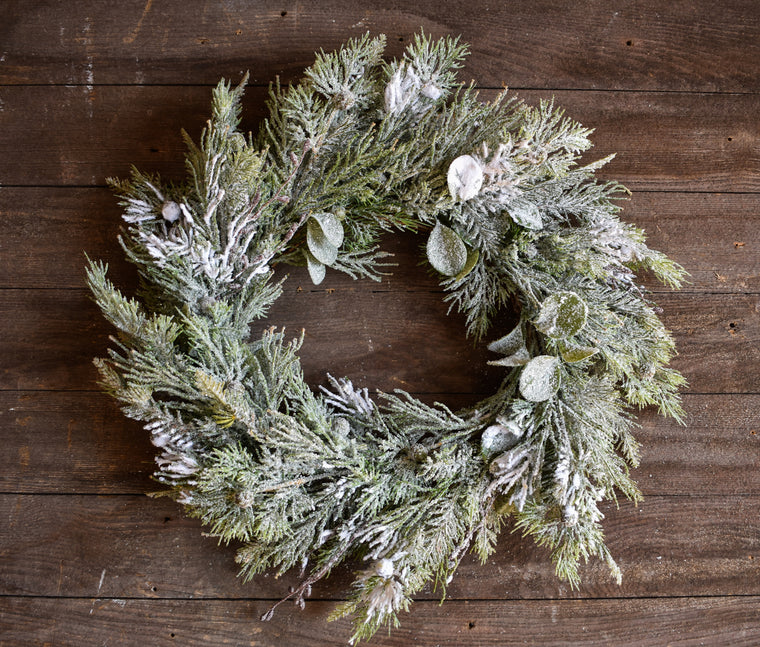 Cedar & Pine Snow Wreath - 24