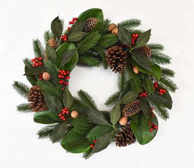 Chestnut Berry Wreath 22""