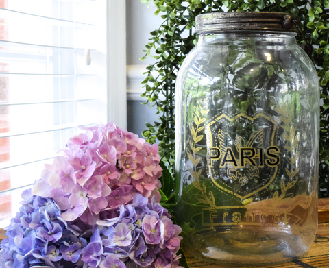 "Glass Paris Jar W/Lid - 9.5 x 5.5"" - HOME DECORATIVE ACCENTS - 1"