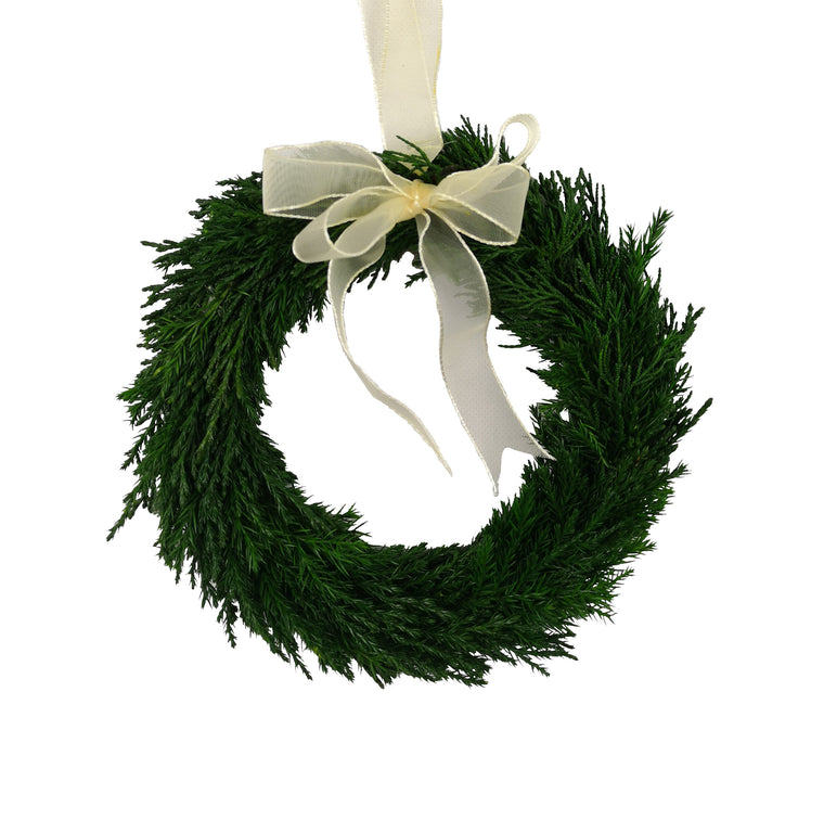 Emerald Cypress Wreath w/ Ribbon - 8