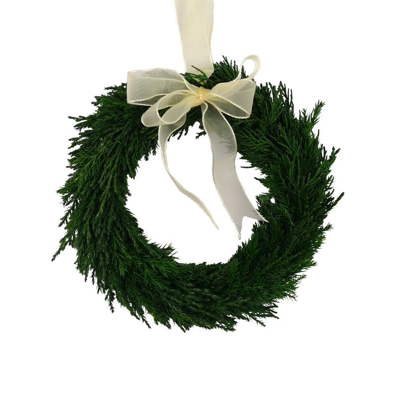 Emerald Cypress Wreath w/ Ribbon - 8""