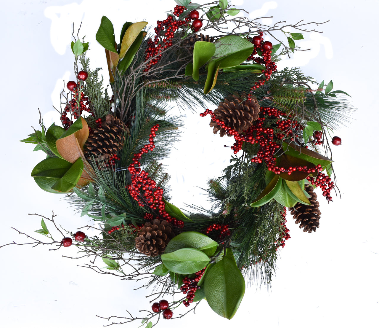 Fern Pine Berry Wreath 26""