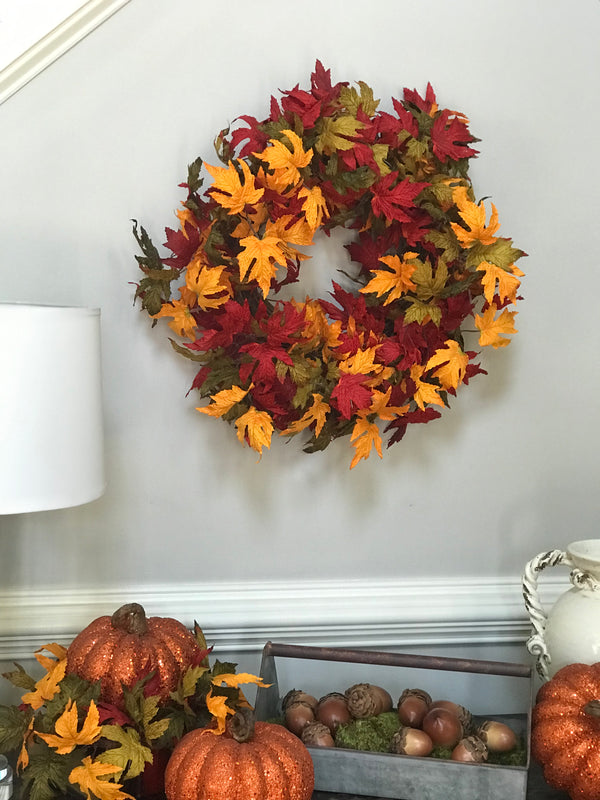 Fall Maple Leaf Wreath 24""