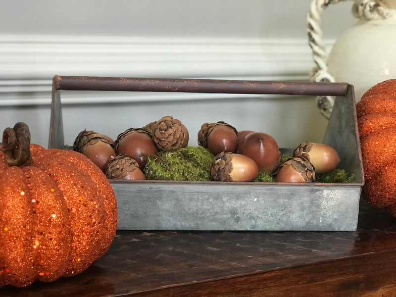 Galvanized Tool Box Caddy - Fall Home Decor