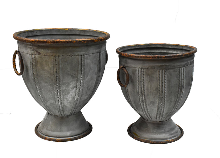 Galvanized Pedestal Urn - Set of 2