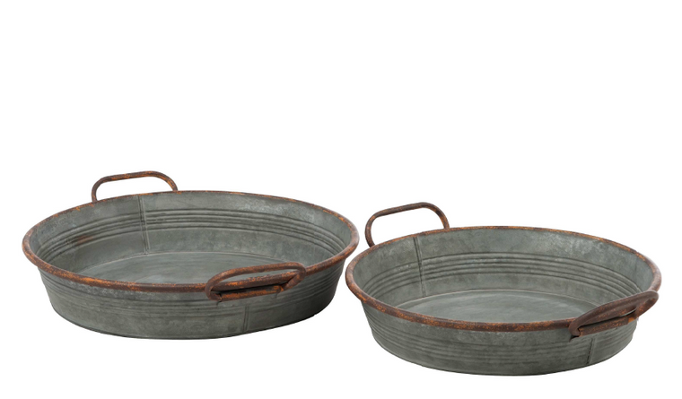 Galvanized Round Metal Tray Set