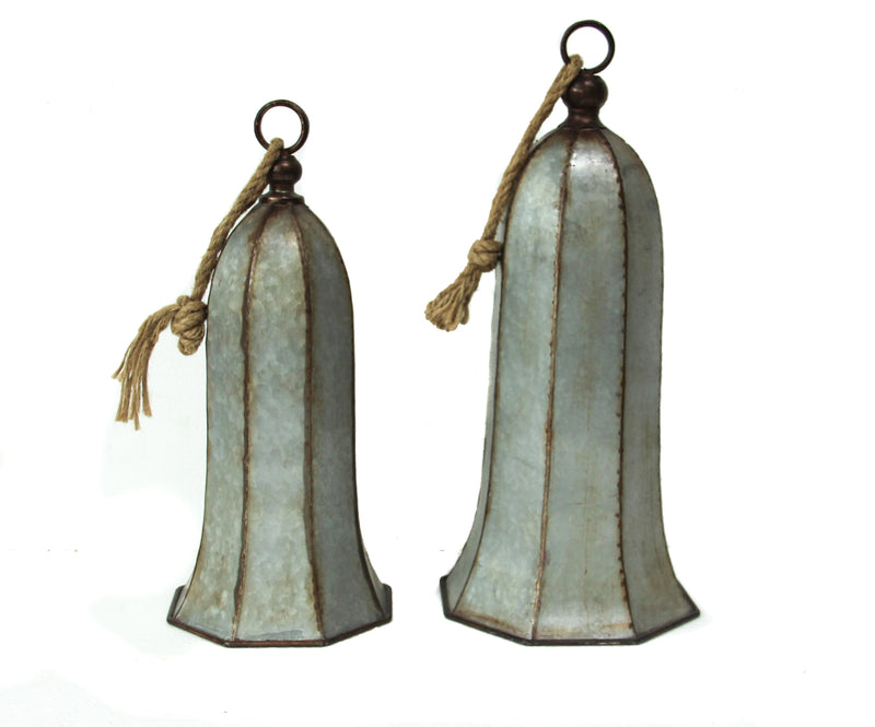 Galvanized Silver Bells - Set of 2