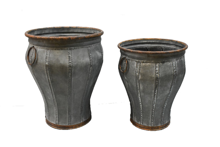 Galvanized Tall Urn - Set of 2