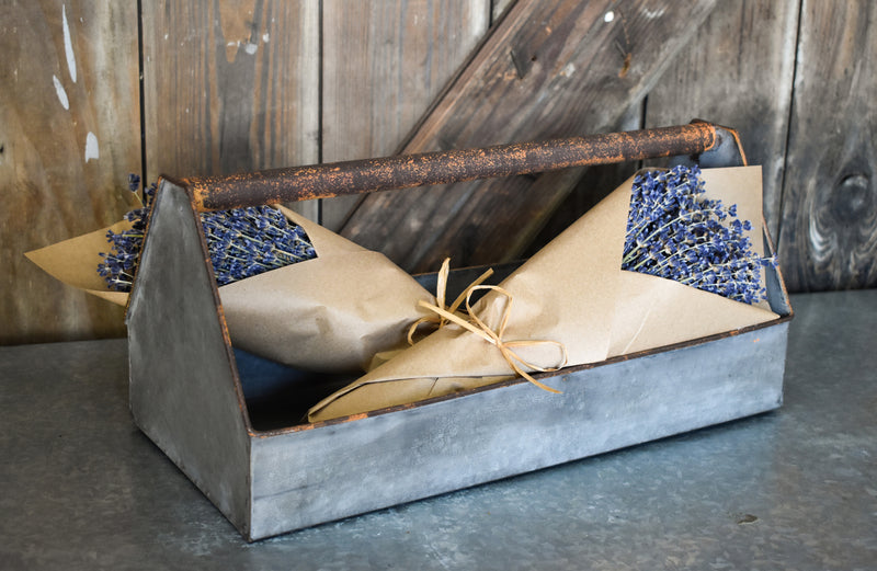 Galvanized Tool Box Caddy - French lavender bunch