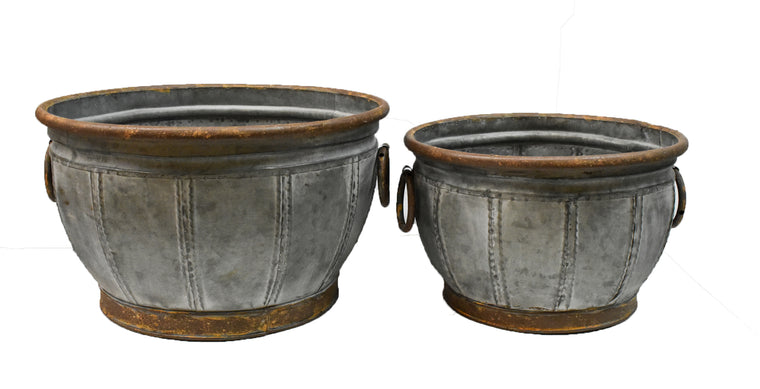Galvanized Vase Planter - Set of 2