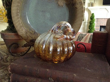 "Clear Amber Glass Pumpkin - Small - 4.5"" x 5"" - HOME DECORATIVE ACCENTS - 2"