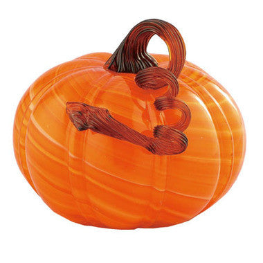 "Orange Glass Pumpkin - Large - 5.5"" x 7.5"" - HOME DECORATIVE ACCENTS"
