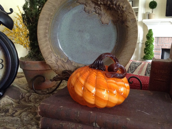 "Orange Glass Pumpkin - Small - 4.5"" x 5"" - HOME DECORATIVE ACCENTS - 2"