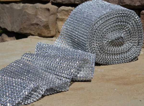 Glimmer Diamond Ribbon Wrap - Silver - 4.75 in x 30 ft roll - HOME DECORATIVE ACCENTS