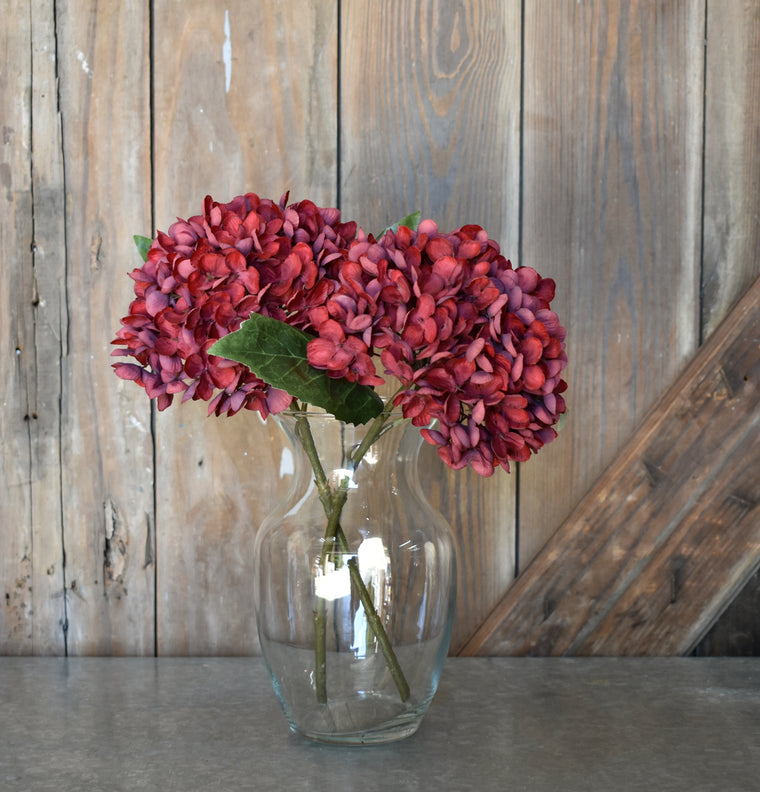 Faux Hydrangea Pick - Red - Set of 6