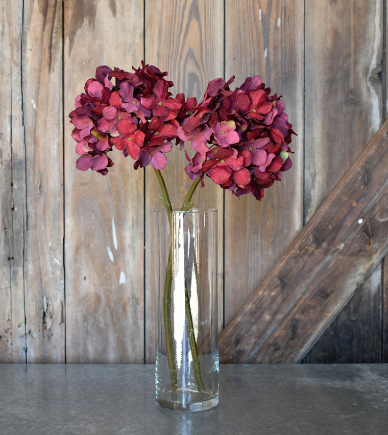 Faux Hydrangea Spray - Red - Set of 6