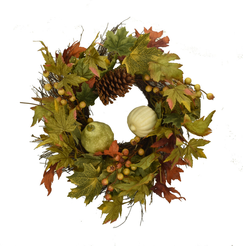 Harvest Moon Pumpkin Wreath 20 Inch
