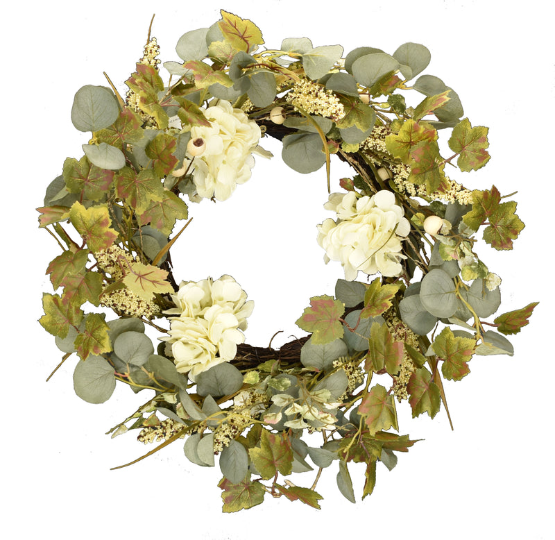 Ivory Hydrangea and Eucalyptus Wreath 22 Inch