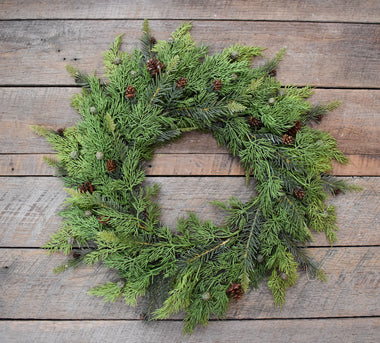 "Pine & Juniper Wreath 17""  (click to see ribbon options)"