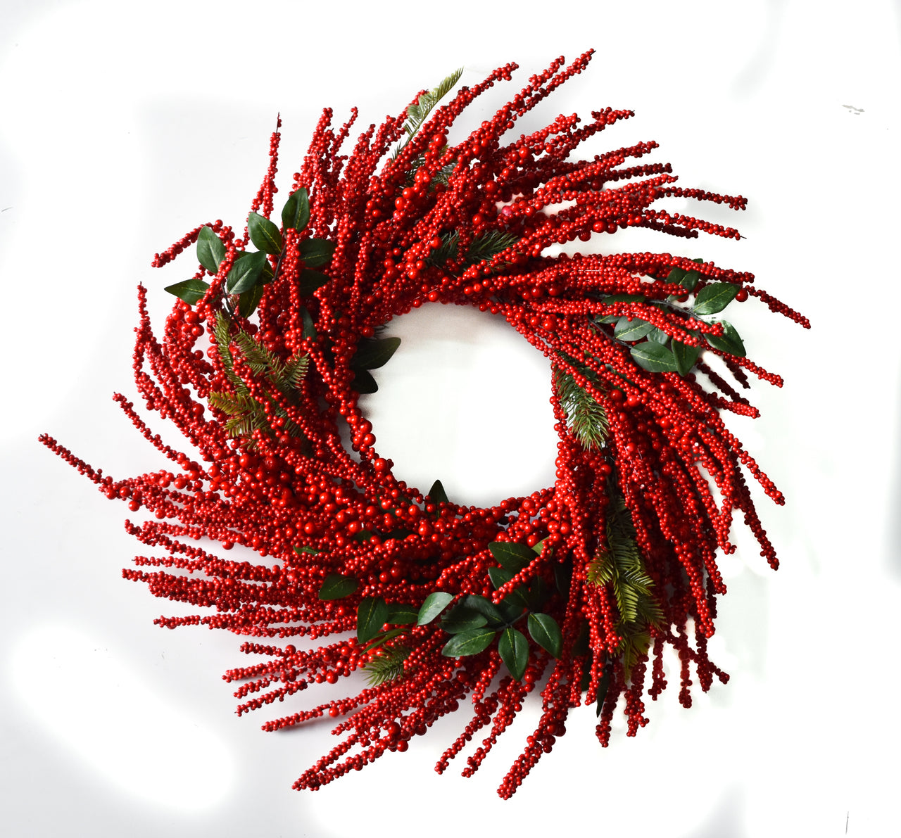 Red Berry Burst Wreath - 28""