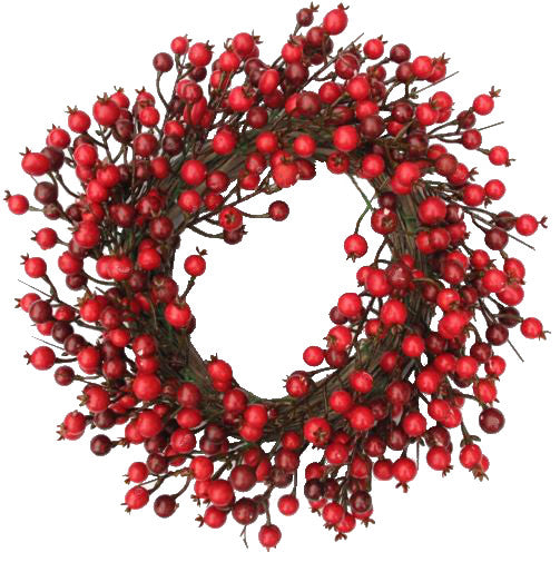 "Red Berry Wreath - 18"" - HOME DECORATIVE ACCENTS"