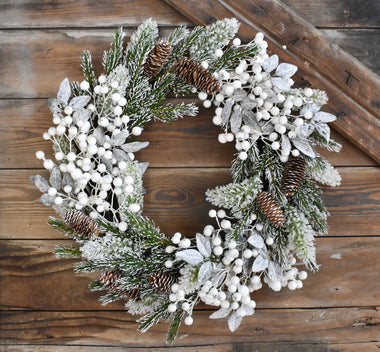 Snow Tipped Pine Berry Wreath 22""