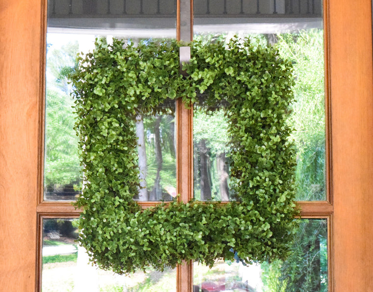 Faux Boxwood Square Wreath - 19