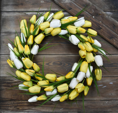 Tulip Grass Wreath - Yellow - 22""