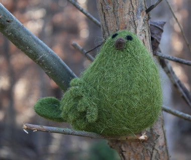 Wooly Sitting Bird - Green - Set of 2