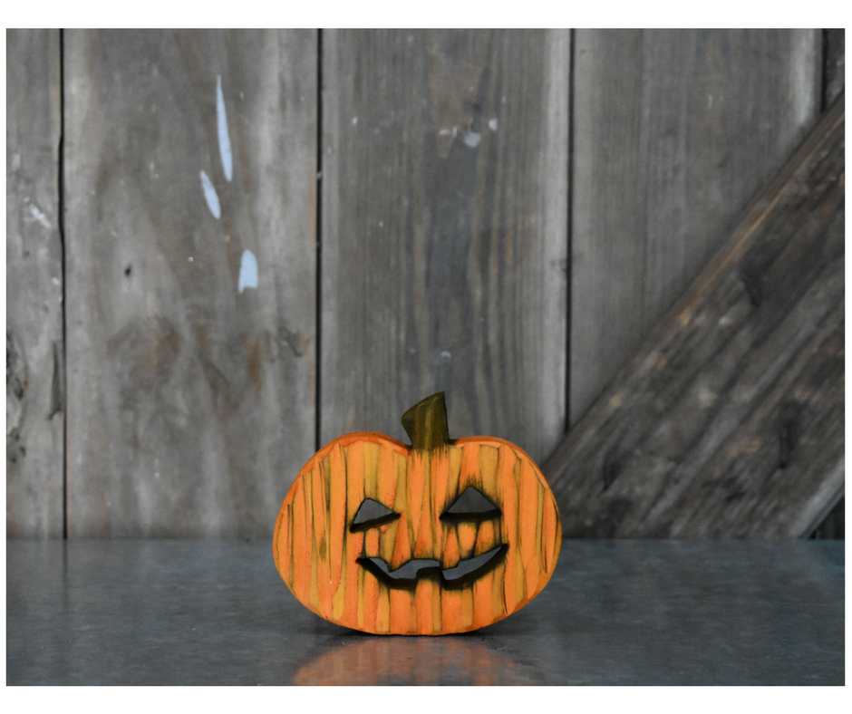 Spooky Wooden Pumpkin- YL/OR