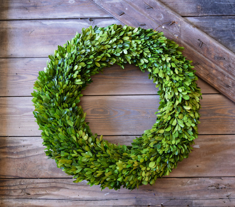 Preserved Boxwood Country Manor Round Wreath - 20