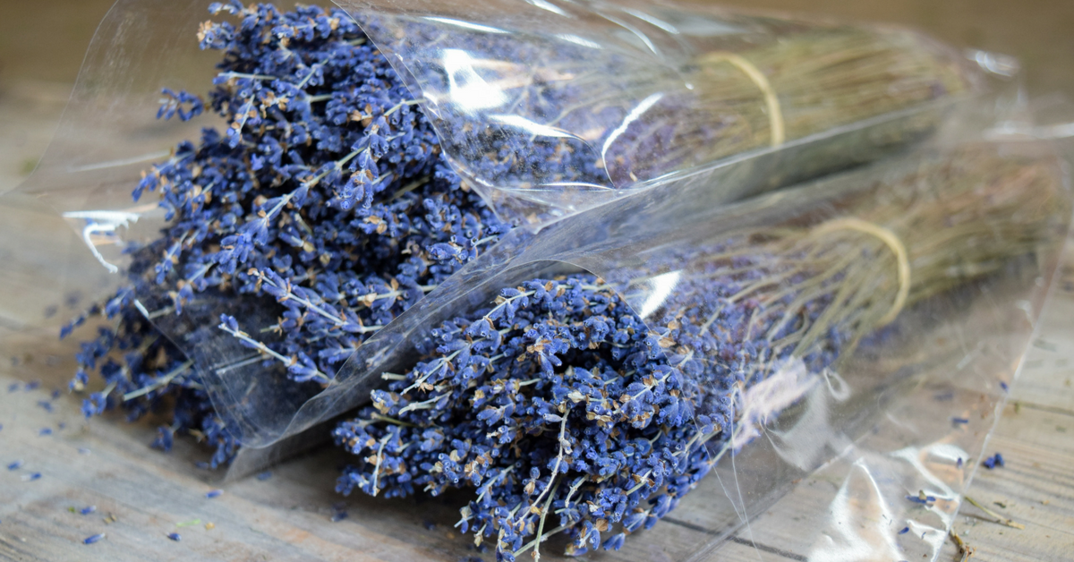 Dried French Lavender Bunch - Natural - Clear Sleeved - Set of 3
