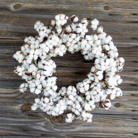 "Cotton Boll Wreath - 28"" - HOME DECORATIVE ACCENTS - 1"
