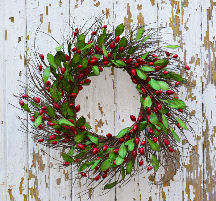 "Cranberry Red Wreath - 20"" - HOME DECORATIVE ACCENTS - 1"