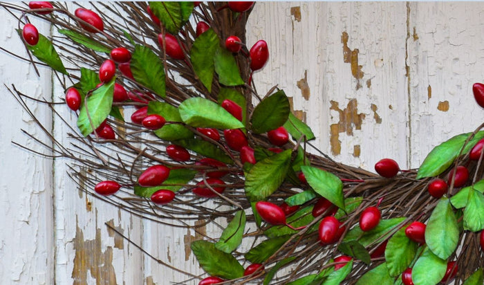 "Cranberry Red Wreath - 20"" - HOME DECORATIVE ACCENTS - 2"