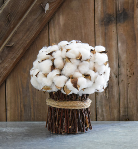 Faux Cotton Bouquet - 9""