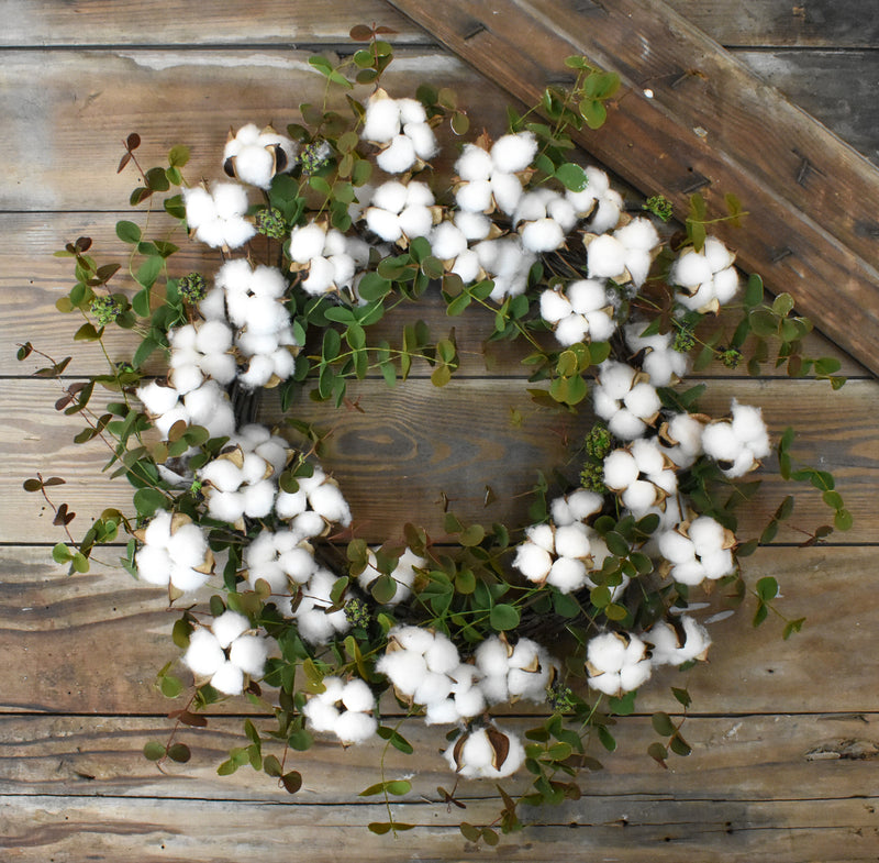 Cotton Eucalyptus Wreath - 20""