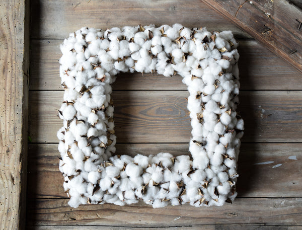 Cotton Square Wreath - 19""