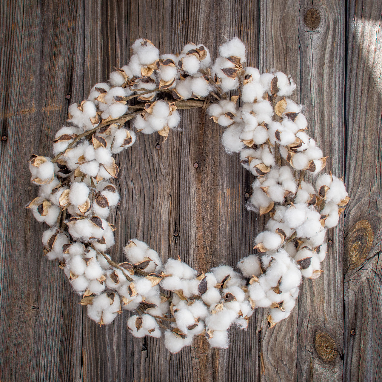 Faux Cotton Wreath - 22""