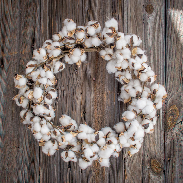 Faux Cotton Wreath - 22