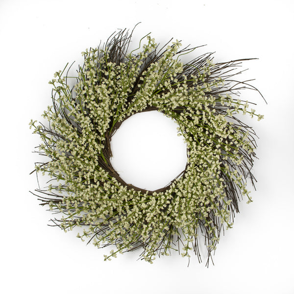 Flower Bouquet Snow Heather Wreath - 24""