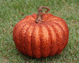 "Glitter Pumpkin Large - 9"" - HOME DECORATIVE ACCENTS"