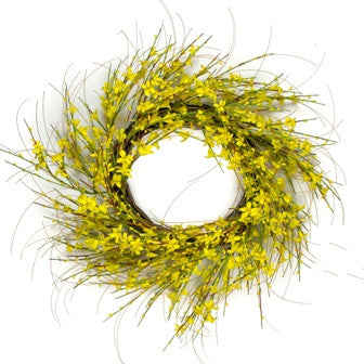 "Golden Forsythia Wreath - 28"" - HOME DECORATIVE ACCENTS - 1"