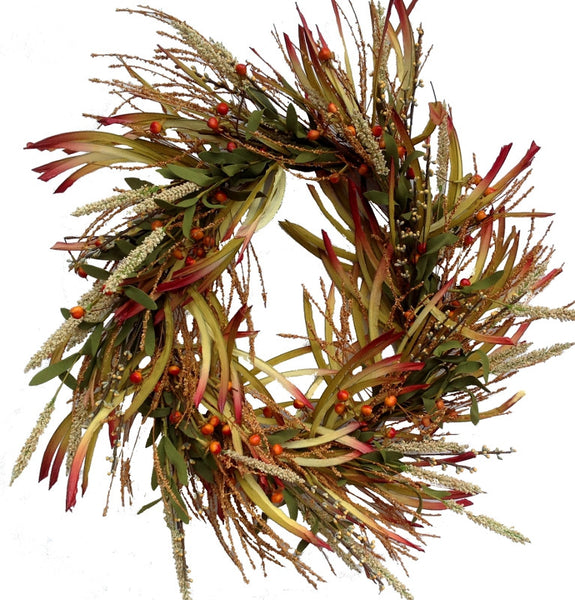 "Grass Wreath Fall - 20"" - HOME DECORATIVE ACCENTS"