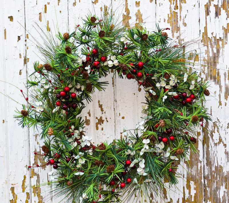 "Holiday Pine & Berry Wreath - 24"" - HOME DECORATIVE ACCENTS - 1"