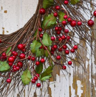 "Holly Berry Burst Wreath - 24"" - HOME DECORATIVE ACCENTS - 2"