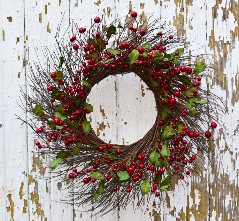 "Holly Berry Burst Wreath - 24"" - HOME DECORATIVE ACCENTS - 1"