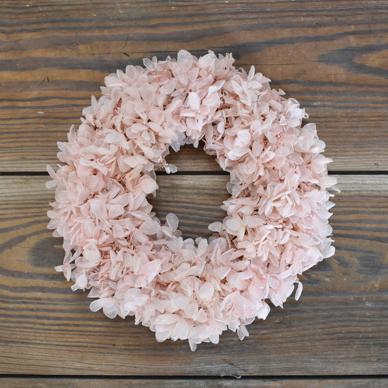 Preserved Hydrangea Candle Ring - Pink - 6.5""