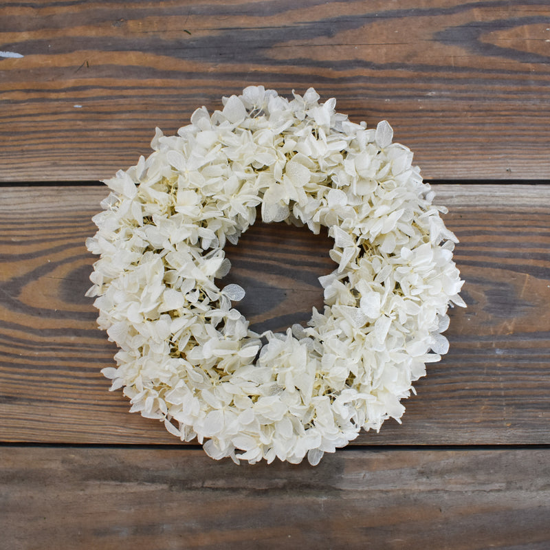 Preserved Hydrangea Candle Ring - White - 6.5""